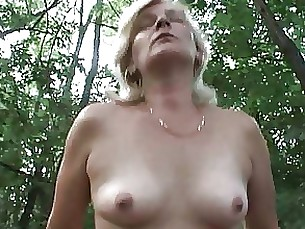Blonde Mature MILF Outdoor
