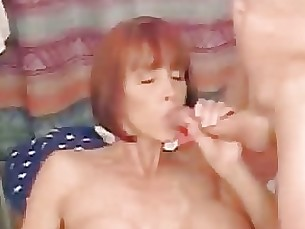 Cumshot Handjob MILF Mouthful