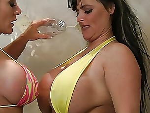 Wet and Oiled Busty Bikini Milfs Play in the Shower