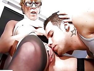 Blonde Blowjob Couple Glasses Granny Horny Masturbation Mature