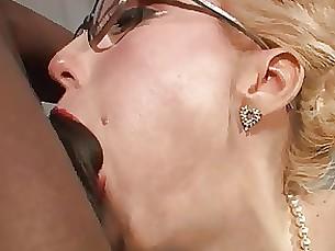 Sexy MILF glasses stockings BBC anal