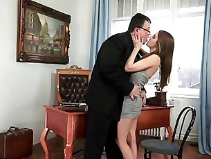 Teen secretary loves fucking her old fat boss