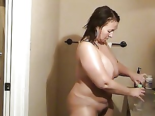 Amateur BBW Fatty Hairy Hot Mammy Mature Shower