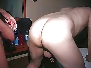 Hard amateur strap on fuck and bottle