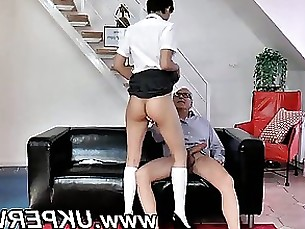 Horny British school girl gets spanked