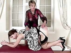 Brunette Juicy Lesbian Mature MILF Spanking