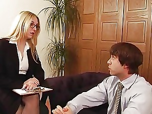 Posh Office Mistress has sex with her slave