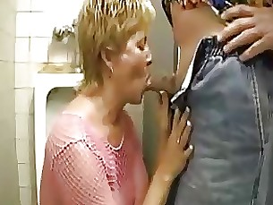 Blonde Blowjob Cumshot Mature Oil Public Toilet