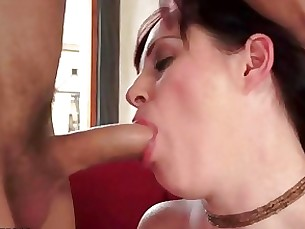 Busty fat milf riding a young cock