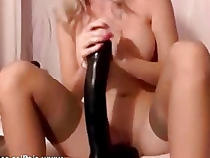 Massive fisting and dildo fucking blond babe