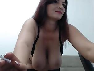 Big Tits Boobs Brunette MILF Smoking